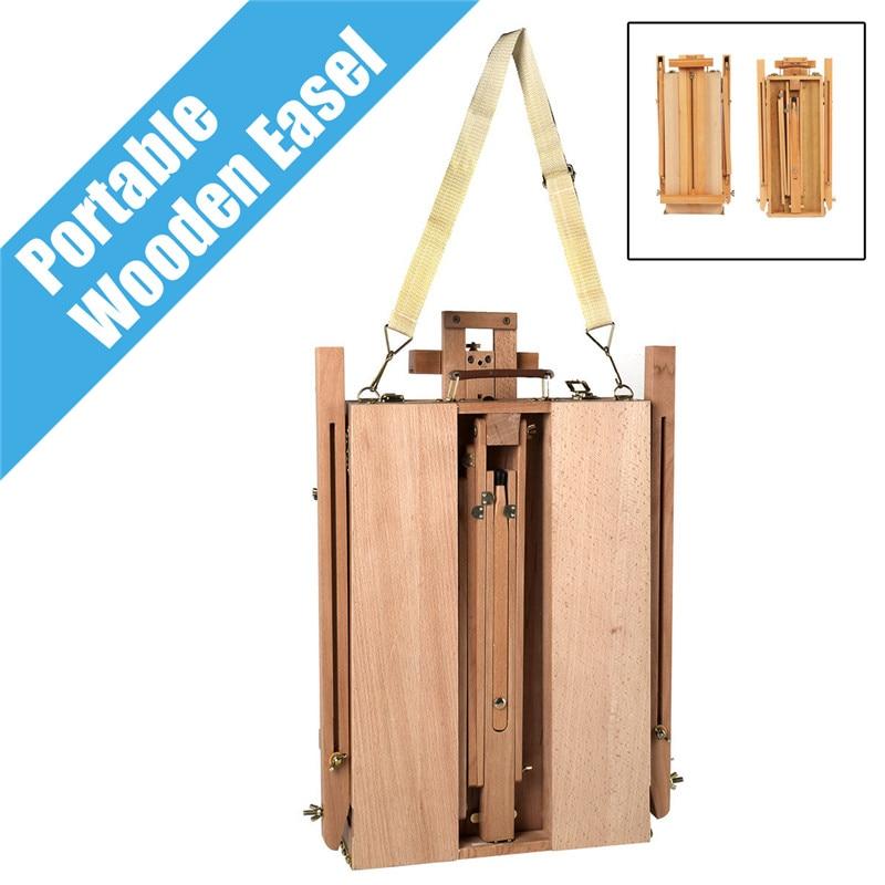 Portátil plegable Durable francés caballete de madera dibujo caja artista pintores trípode suministros de pintura caballetes