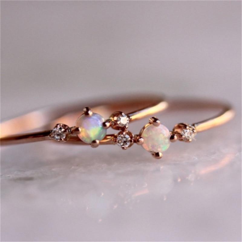 Romad Sparkling Simple Opal Ring Tiny Small Cubic Zirconia Rhinestone Trendy Elegant CZ Rose Gold Zircon Rings for Women Z3