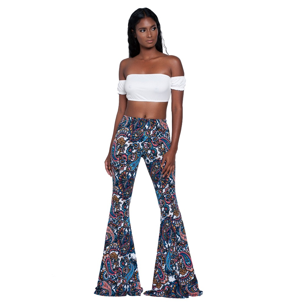 2019 Summer Vintage Ethnic Print Flare Pants Women High Waist Full Length Pants Trousers Casual Pantalones Streetwear Femme
