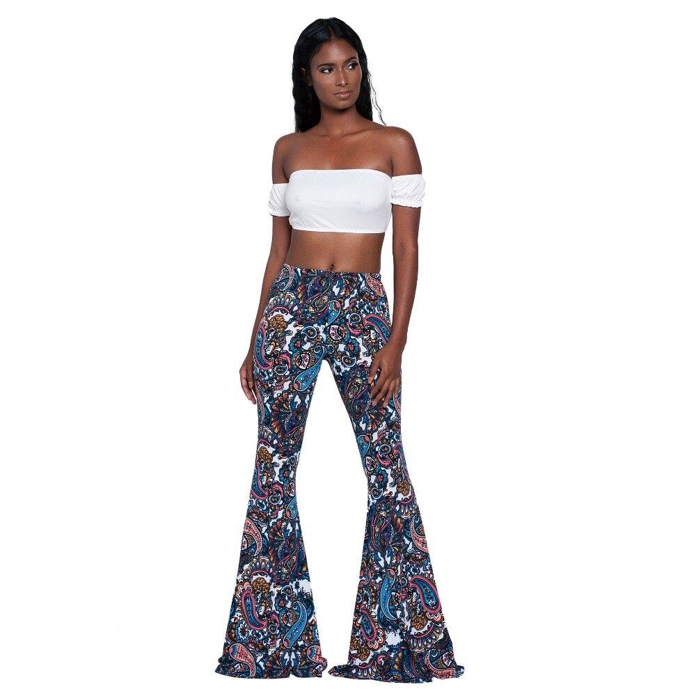 2019 Summer Vintage Ethnic Print Flare Pants Women High Waist Full Length Pants Trousers Casual Pantalones Streetwear Femme