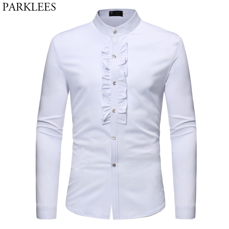 Mens Ruffle Tuxedo Dress Shirts 2018 Brand New Slim Fit Long Sleeve Stand Collar Shirt Men Prom Performing Wedding Chemise Homme