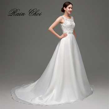 Vestido de Noiva A Line Backless Lace Bridal Gown With Train Wedding Dress 2020