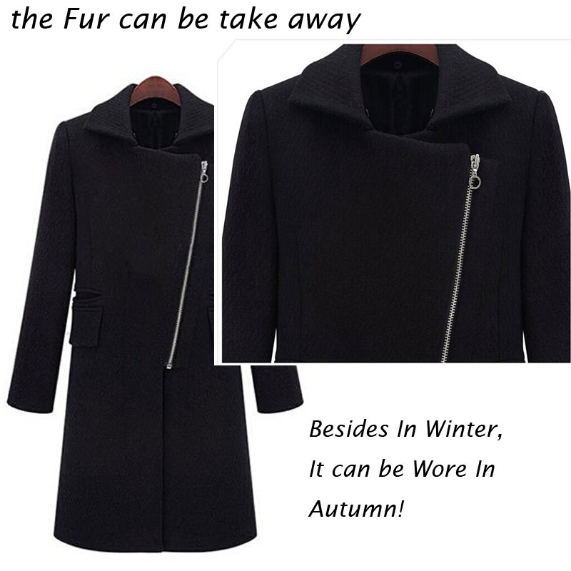 Winter Schwarz Faux Pelzkragen Mantel Jacke Frauen 2019 Neue Mode - Damenbekleidung - Foto 4