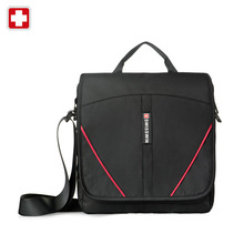 SWISSWIN Men's Casual Messenger Bag for tablet and cell phone SWE1006 Black Male Small Shoulder Bag
