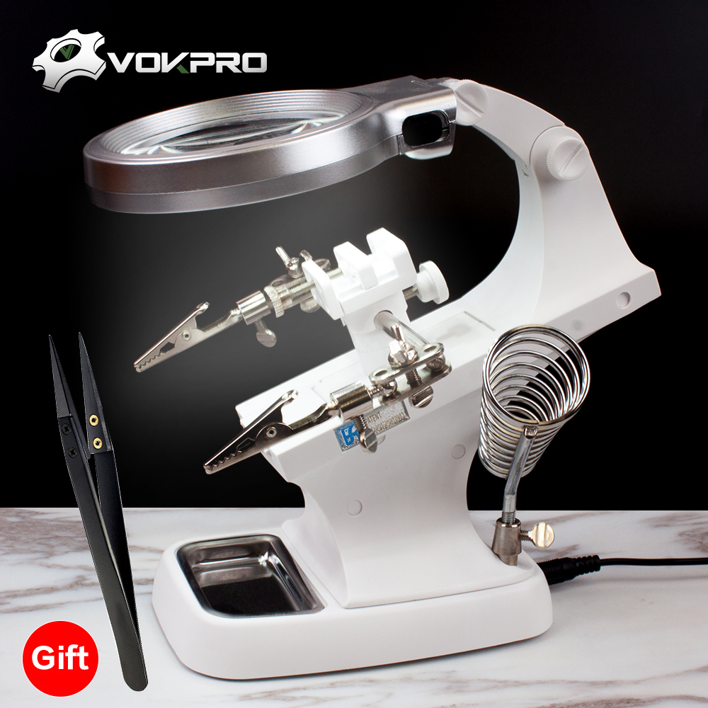 US $12.15 50% OFF|  3 Hand Soldering Iron Stand Welding Tool With Illuminated Glasses LED Alligator Clip Holder Clamp Helping Hand Repair-in Electric Soldering Irons from Tools on Aliexpress.com | Alibaba Group