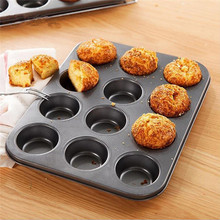 12 Holes Cup Cake Molds Carbon Steel Nonstick Round Cup Cake Mold Baking Cake Egg Tart Hole Kitchen Baking Tools Supplies