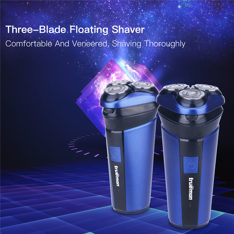 Men Washable Rechargeable Rotary Three-blade Electric Shaver shaving machine Razor low noise fast response USB charging 3031