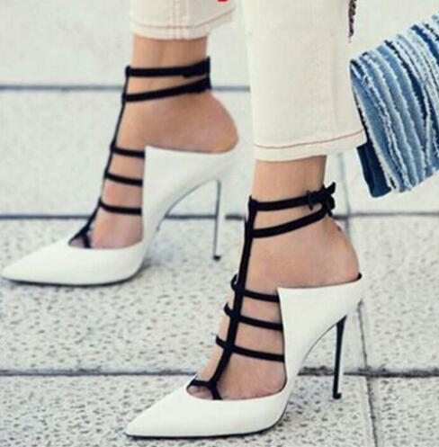 The Newest Lady Sexy Cut-outs Pointed Toe 11 cm Heel Ankle Strap Pumps Woman Mixed Color Slingback Shoes Woman Design High HeelsThe Newest Lady Sexy Cut-outs Pointed Toe 11 cm Heel Ankle Strap Pumps Woman Mixed Color Slingback Shoes Woman Design High Heels