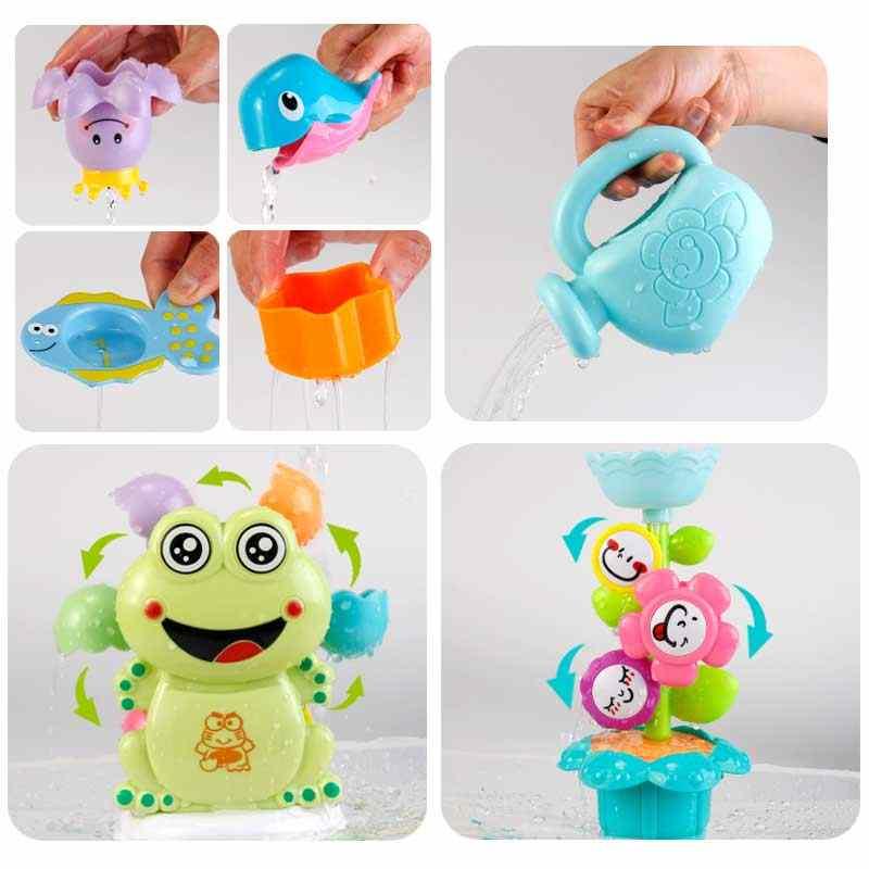 ドロップシップ子供風呂のおもちゃプラスチックアヒル風呂ネットじょうろローラーワタリ浴室教育子供のための水泳水のおもちゃ