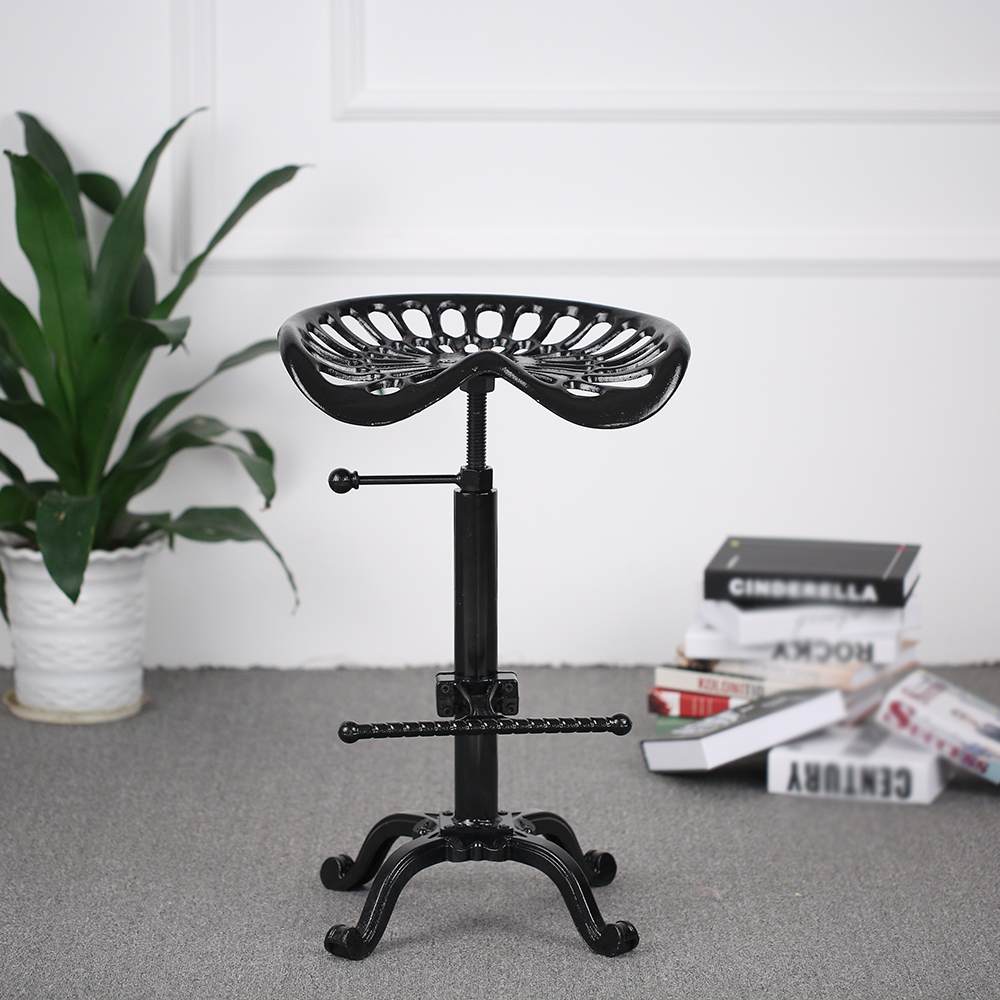 IKayaa Chair Industrial Style Cast Iron Tractor Seat Bar Stool Adjustable  Height Swivel Metal Barstool Chair