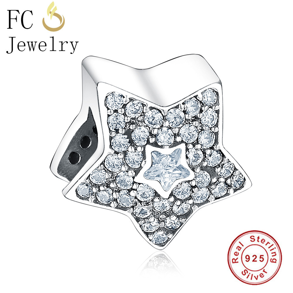 FC Jewelry Fits Original Pandora Charms Bracelets 925 Silver Star mix Paved Clear CZ Cystals Beads for Making Berloque DIY Gift