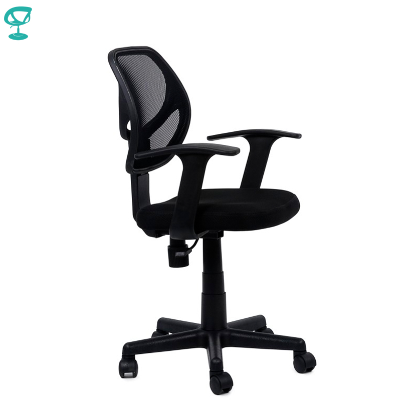 95155 Black Office Chair Barneo K-144 Fabric And  Mesh Plastic Armrests Withgas Lift Roller Free Shipping In Russia