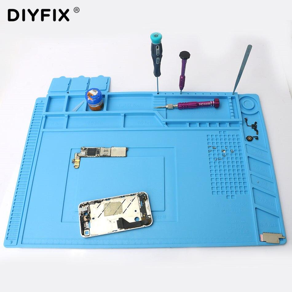 DIYFIX 45x30 cm Isolation thermique Silicone Pad Tapis de Bureau Plate-Forme de Maintenance pour BGA À Souder Station De Réparation avec Magnétique section