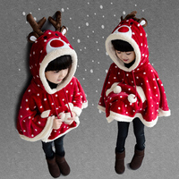 Poncho girl winter Flower baby faux fur capes jackets christmas tops for kids outwear cartoon deer hooded jacket snowsuit coat