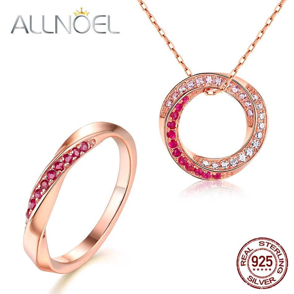 ALLNOEL S925 argent Sterling rubis pierres précieuses ensemble de bijoux pour les femmes de luxe en or Rose rond Vortex anneau Long collier bijoux fins