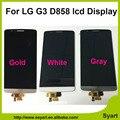 Белое Золото Серый Испытано Лучшее цена Для LG G3 D855 D850 ЖК-Дисплей с Сенсорным Экраном с Дигитайзер без Рамка рамка ассамблея