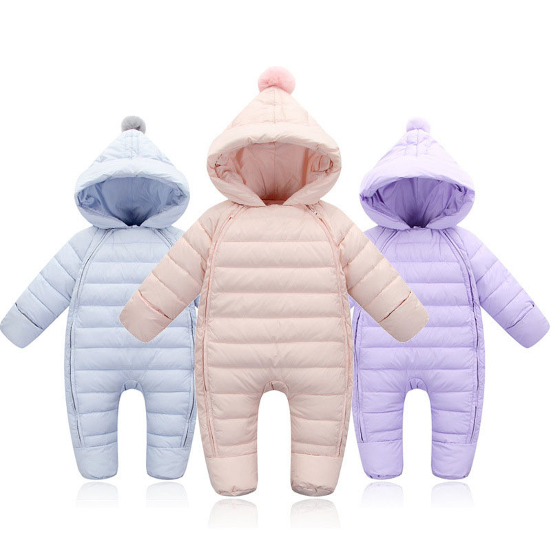 Baby Rompers Newborn Baby Girl Thermal Duck Down Winter Snowsuit Baby Cute Hooded Jumpsuit Newborn Baby Boy Clothes Ski Suit fashion baby jumpsuit winter rompers hooded children winter jumpsuit duck down baby girl rompers infant boy snowsuit overalls