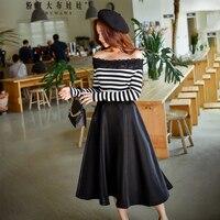 original 2018 brand t shirt spring autumn fashion black and white striped off the shoulder t shirt women wholesale
