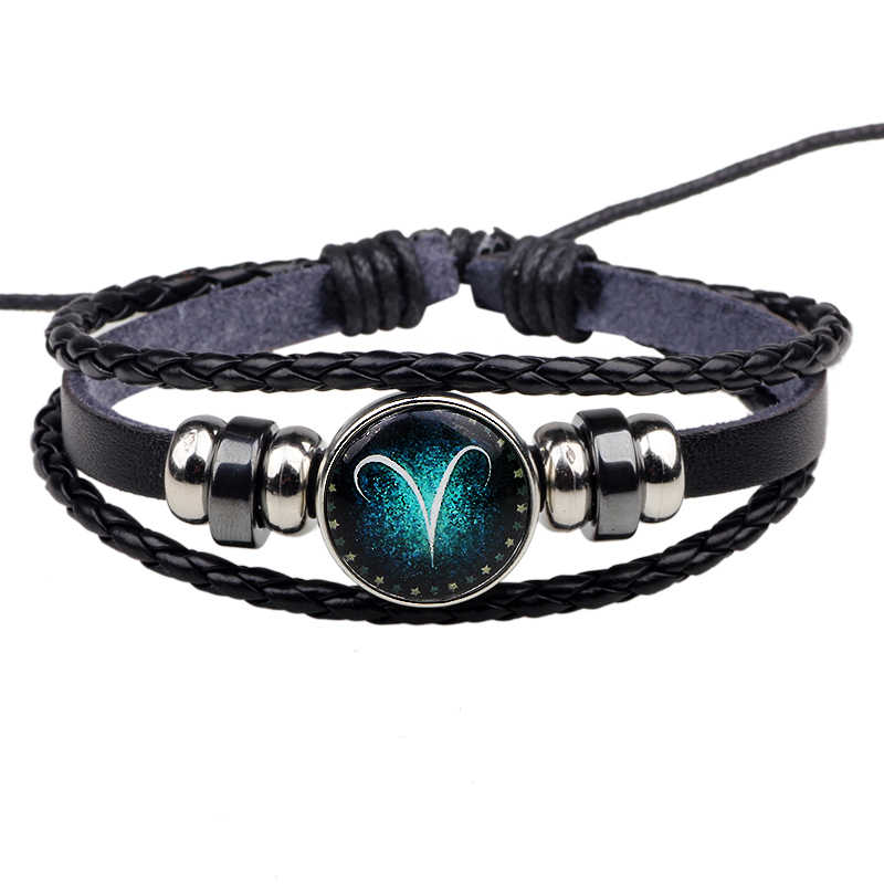 Womens Mens Multilayer Glowing in the dark 12 Constellations Charm Leather Rope Braided Bracelets,12 Zodiac Bracelets