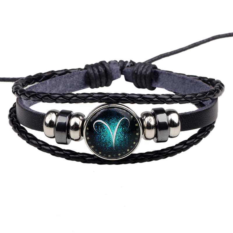 Womens Mens Multilayer Glowing in the dark 12 Constellations Charm Leather Rope Braided Bracelets,12 Zodiac Bracelets image