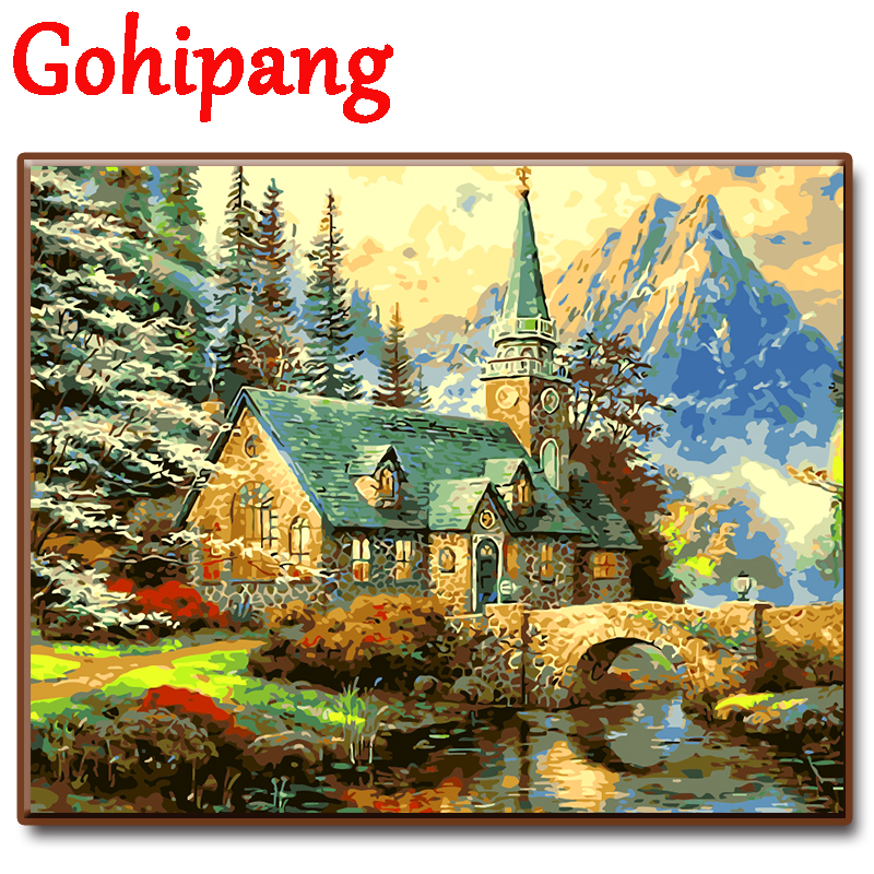 Digital Oil Painting By Numbers Landscape Wall Decor River House Scenery Picture On Canvas Oil Paint Coloring By Number Drawing