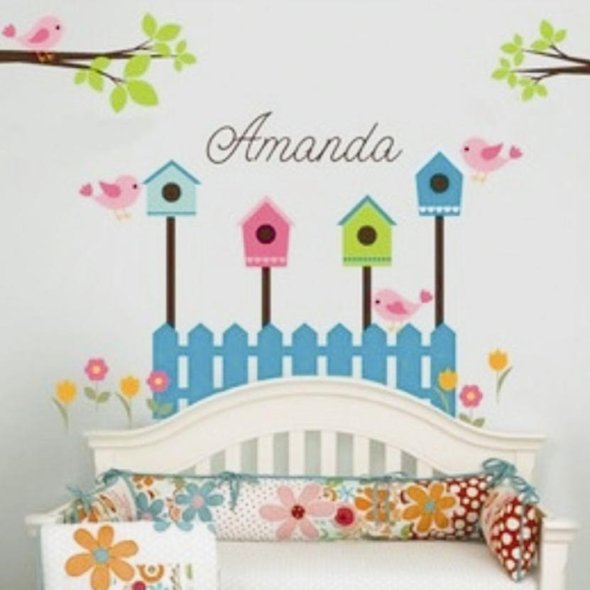 Fresh Nature Bird House Tree Flowers Wall Sticker Decal DIY ...
