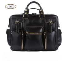 J.M.D High Quality Guarantee Genuine Cow Leather Classic Black Men's Large Capacity Briefcases Laptop Handbag Busniess Bag 7028A