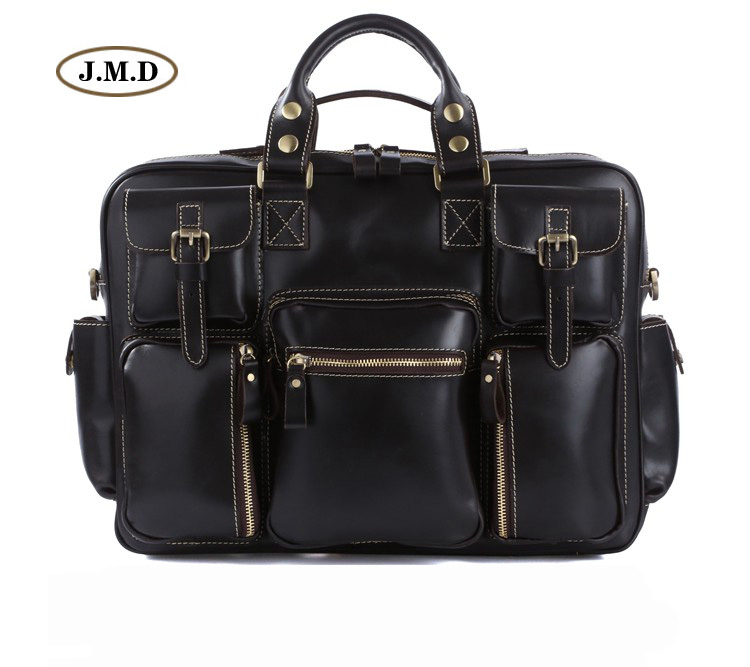 New High Quality Guarantee Genuine Cow Leather Classic Black Men's Large Capacity Briefcases Laptop Handbag Busniess Bag 7028A