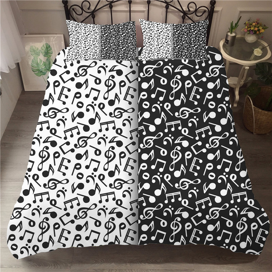 A Bedding Set 3D Printed Duvet Cover Bed Set Musical Note Home Textiles For Adults Bedclothes With Pillowcase #YF04