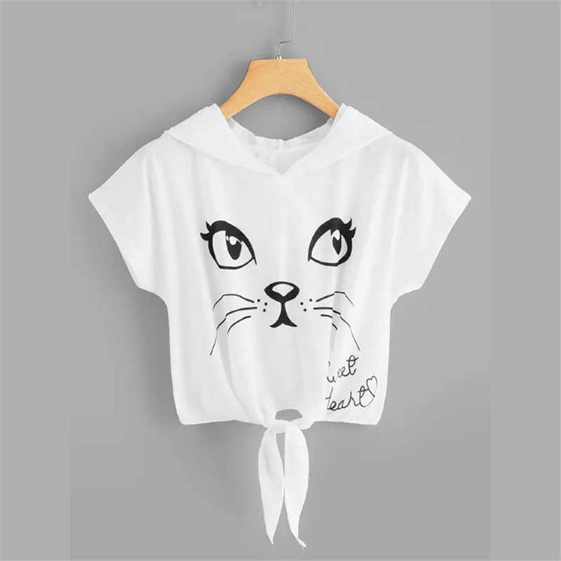 Women's Shirt Short Sleeve T-Shirt Big Eyes Cat Pattern Print Ladies Casual Short Sleeve Loose Thin Women's T-Shirt Knotted Top