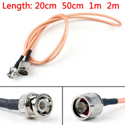 Areyourshop RG142 kabel BNC wtyk męski na N męski prosty zaciskany wtyk koncentryczny 20cm 50cm 1m 2m przewód wysokiej jakości w Złącza od Lampy i oświetlenie na