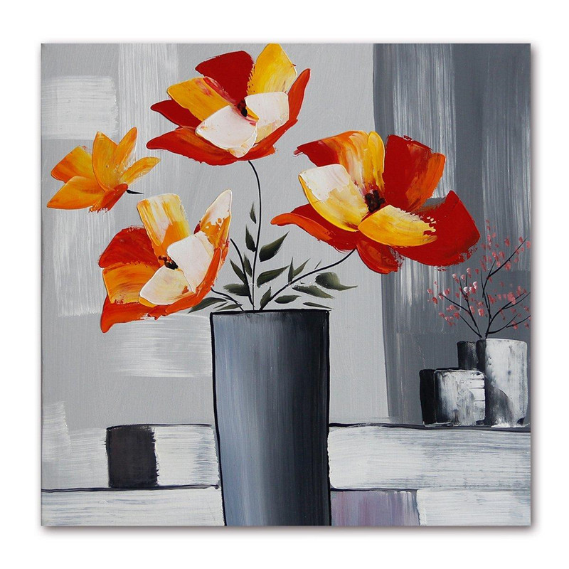 high quality Handpainted Flower Palette Thick Knife Oil Painting On Canvas Home Wall Decor For Living Room hotel decor Artwork