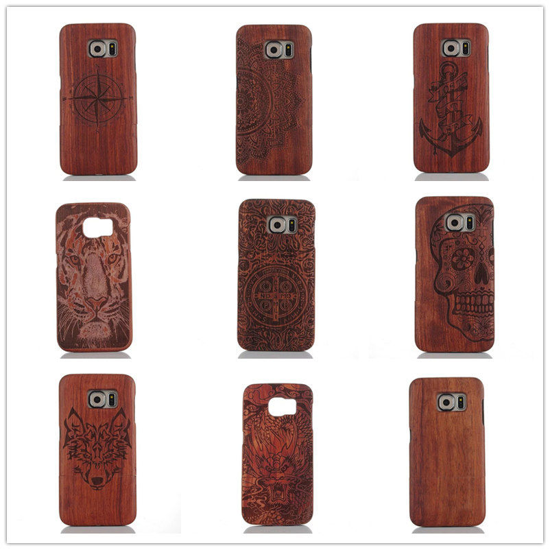 Wood Carving LOGO Genuine Wooden Light luxury Bamboo Cover Case For Samsung Galaxy Note 4 5 S8 S6 Edge Plus S4 MINI S8 Plus