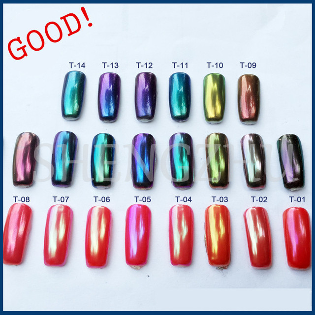 How To Use Chrome Nail Powder Without Gel: 10g CHAMELEON Chrome NAILS POWDER Holographic Powder