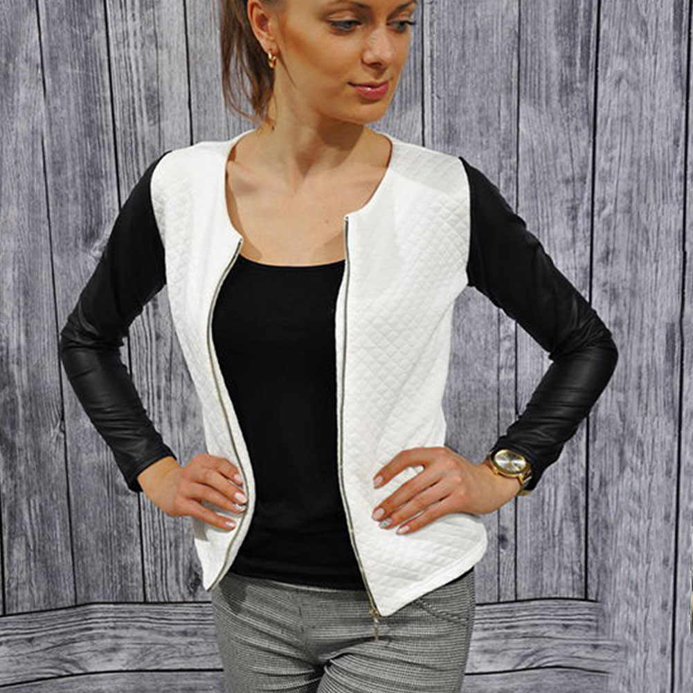 Women Outwear PU Leather Patchwork O-neck  Jackets Female Casual Short Thin Coats Slim  Blazers