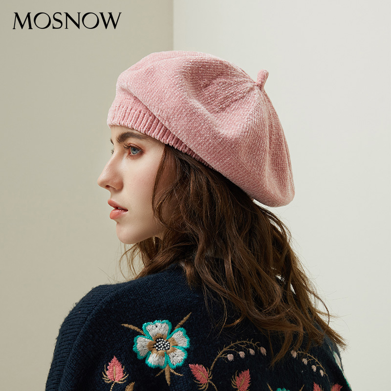 c5405d61ad6 2018 New Stylish Berets Chenille Material Winter Berets For Women Warm  Knitted Hat Female Autumn Painter Caps Lady Hot Selling-in Berets from  Apparel ...