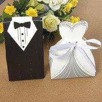 Hộp Quà Tặng đám cưới Kẹo Hộp 100 Cái Bridal Các Trường Hợp Món Quà Groom Tuxedo Ăn Mặc Gown Ribbon Wedding Favor Kẹo Hộp