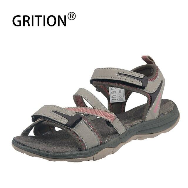 GRITION النساء الصنادل 2020 في الهواء الطلق قابل للتعديل حزام الشاطئ حذاء مسطح السيدات خفيفة الوزن المفتوحة تو الصنادل الرياضية الراحة عادية 1