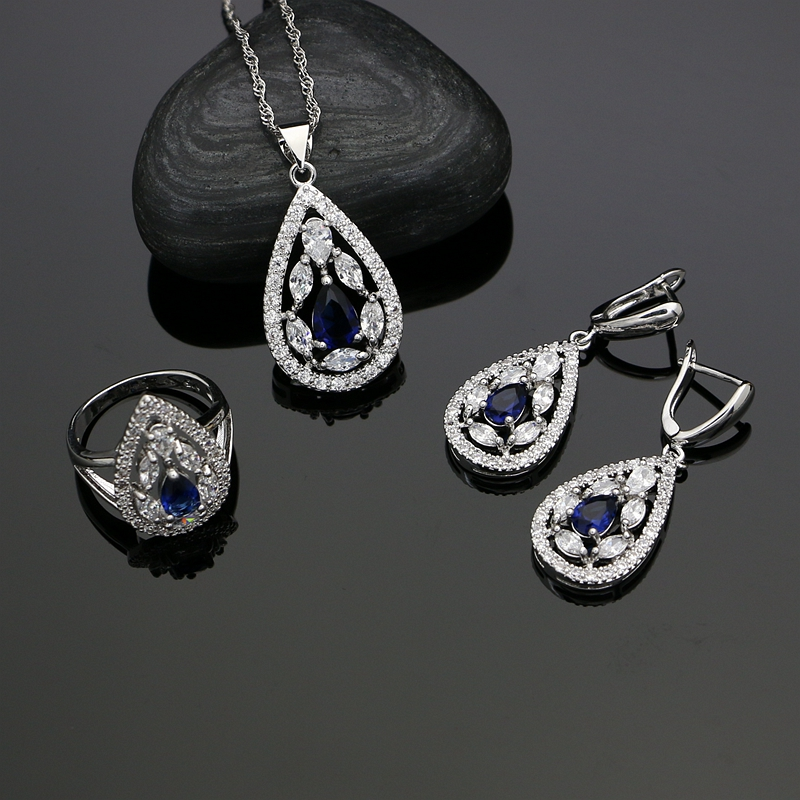 Drop Blue Cubic zirconia White Rhinestones 925 Sterling Silver Jewelry Sets For Women Wedding Earrings/Pendant/Necklace/Rings