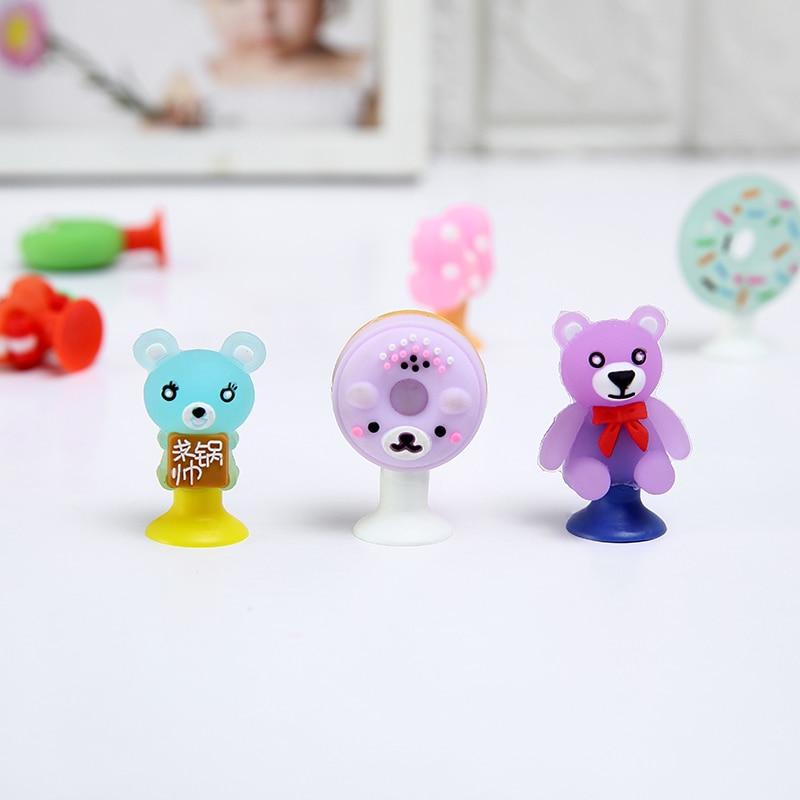 15pcs/Lot Cartoon Cute Animals Candy Colors Chick Bear Rabbit Donuts Mini Sucker Cup Funny Creative Toy Kids Pencil Topper Decor