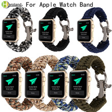 Woven Rope nylon watch strap for Apple Watch band 42mm 38mm Survival Outdoors wrist Strap with Whistle for iwatch 4/3/2/1 belt