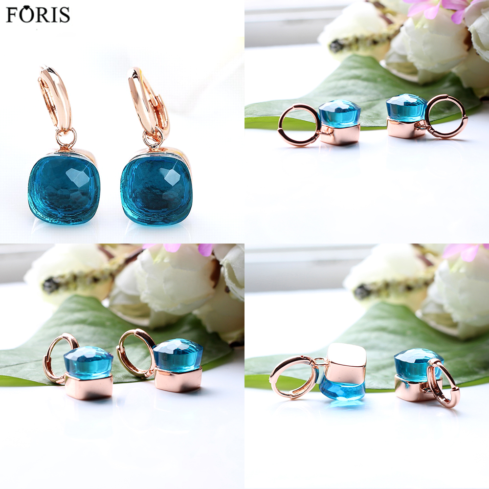 FORIS Hot-sale products 18 Colors Luxury Jewelry Rose Gold Blue Topaz Earrings For Women Best Gift  PE028FORIS Hot-sale products 18 Colors Luxury Jewelry Rose Gold Blue Topaz Earrings For Women Best Gift  PE028