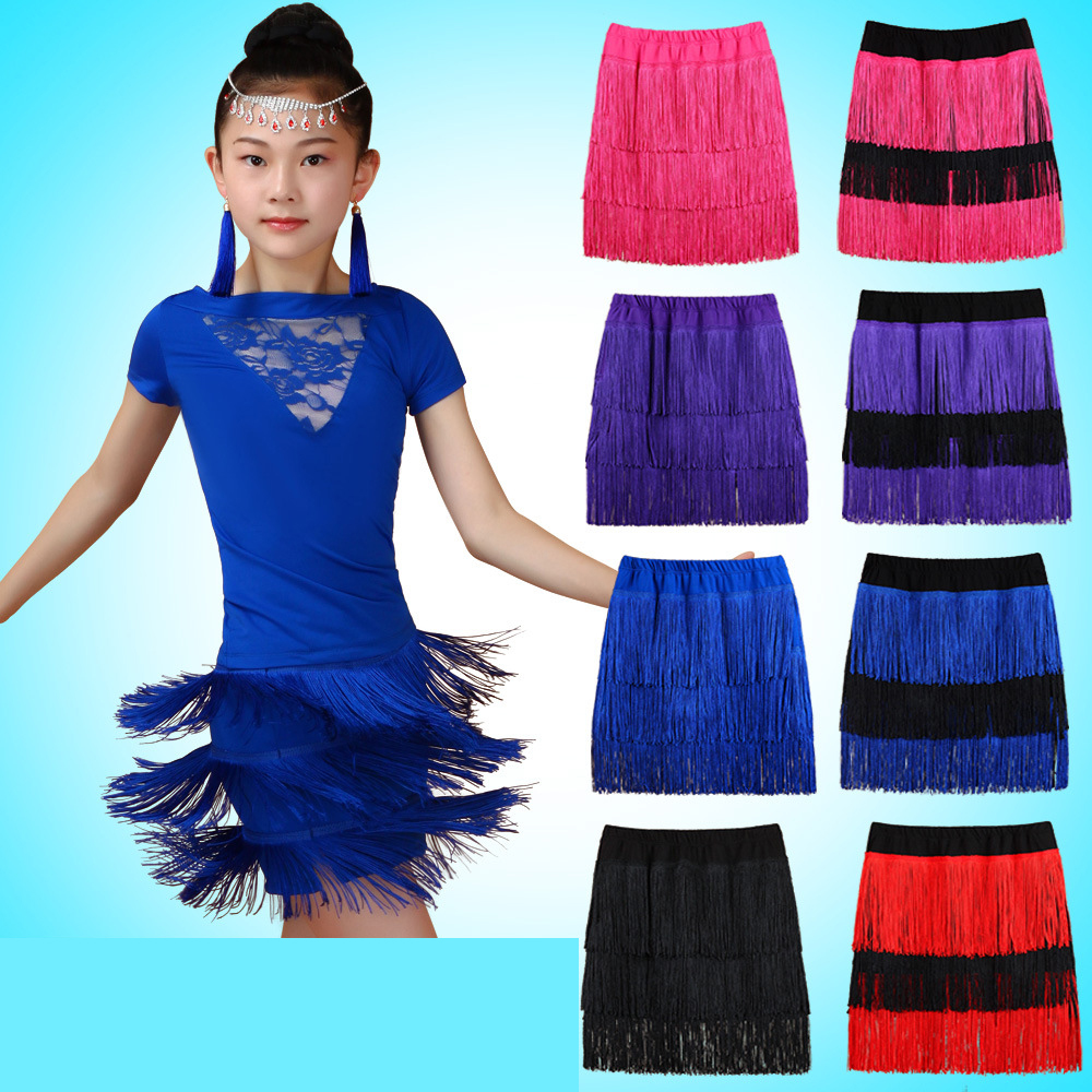 Children Latin Dance Clothes More Color Tassel Skirt Kids Ballroom Cha Cha Stage Competition Dress Up Dancing Girls Half Skirt