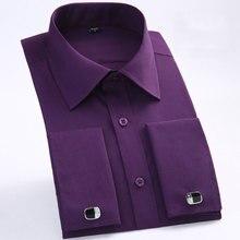 Camisa de vestir con gemelos franceses para hombre, camisa de manga larga lisa, elegante, de esmoquin, Formal, de negocios, puño francés