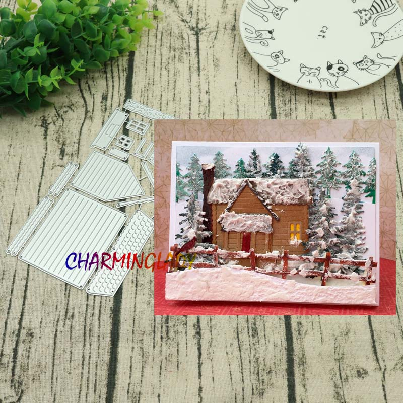 Make up 3 kinds of houses Stencil Metal Cutting Dies For DIY Scrapbooking Paper Card Cra ...