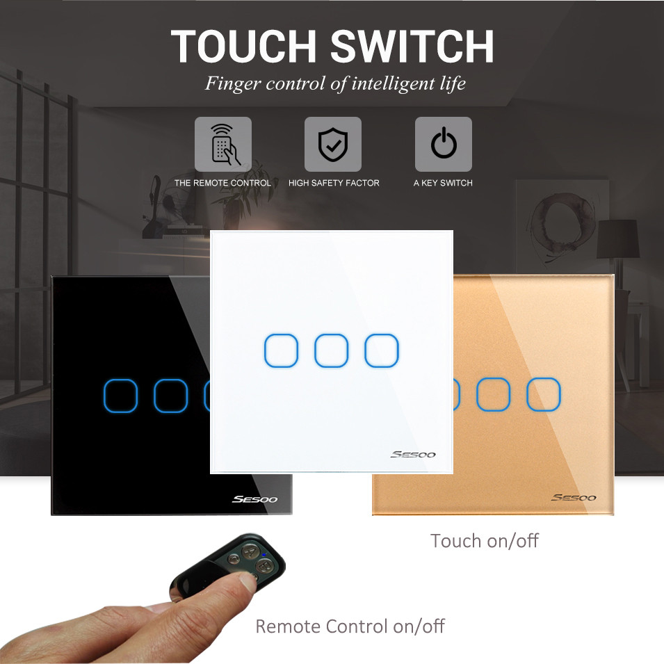 EU/UK Standard SESOO Remote Control Switch 3 Gang 1 Way,Crystal Glass Switch Panel, RF Remote Wall Touch Switch+LED Indicator