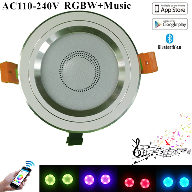 KINLAMS Smart Bluetooth LED Ceiling Downlight 14W RGBW Dimmable LED Down Light 100-240V SMD5050 RGB+White App Control Down Light