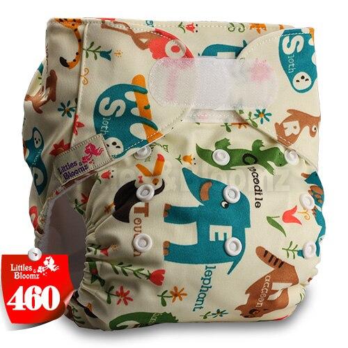 [Littles&Bloomz] Один размер многоразовые тканевые подгузники Моющиеся Водонепроницаемые Детские карманные подгузники стандартная застежка на липучке - Цвет: 460