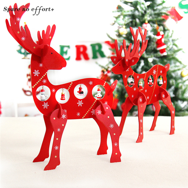 Christmas Decorations Diy Elk Ornaments For Home Red Wood Reindeer Decoration Craft Natal Decor