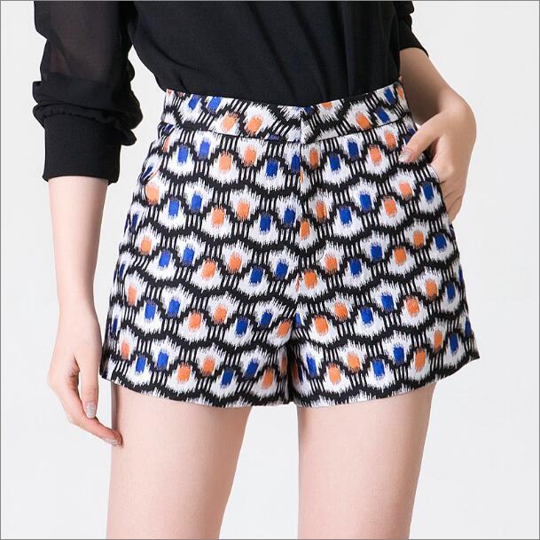 2016 primavera nova moda largos calções perna feminino coreano moda impressão de cintura alta grandes estaleiros A - linha Shorts azul verde A80300